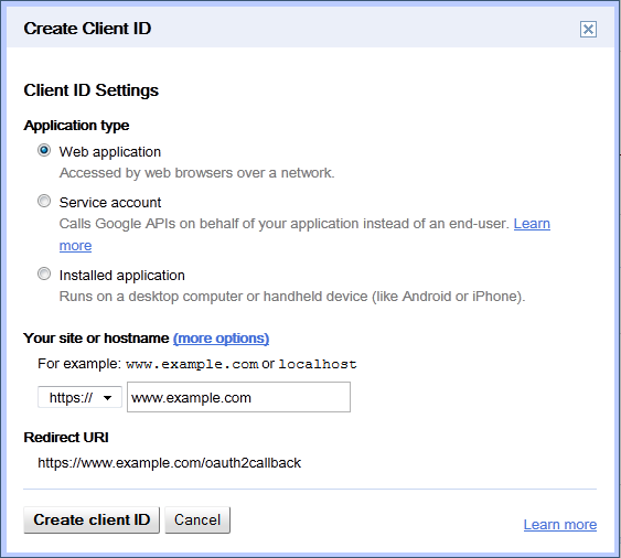 google-drive-client-settings